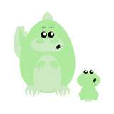 Crocodile and Frog Surprised Stock Photo