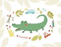 Crocodile. Funny predator in cartoon style. Cheerful green alligator. Children`s bright picture stock illustration