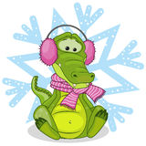 Crocodile in a fur headphones Stock Images