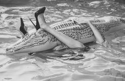 Crocodile gonflable Matelas femelle de prise de jambes dans la piscine les jambes de la fille embrassent le crocodile gonflable d Photos stock