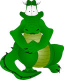 Crocodile. Green sitting crocodile on white background vector illustration