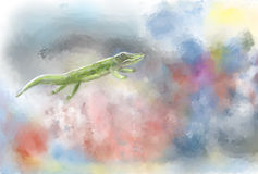 Crocodile. Green crocodile swims in his abstract world Stock Images