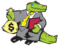 Crocodile in grey suit. Royalty Free Stock Image