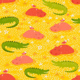 Crocodile, hippo, hipo, seamless pattern. Cute african animals seamless pattern.Crocodile, hippo, hipo Stock Photo