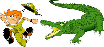 Crocodile and hunter Royalty Free Stock Images