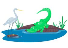 Free Crocodile Hunting On The Heron In The Lake. Happy Cute Cartoon Alligator And Bird In The Blue Swamp Pond. Green Reptile Royalty Free Stock Photos - 166281958