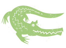 Crocodile vector. Illustration of a cartoon crocodile on white background + vector eps file Stock Photos