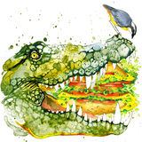 Crocodile  illustration with splash watercolor textured background Royalty Free Stock Photos