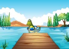 A crocodile inside a buoy swimming Stock Photo
