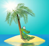 Crocodile Island. Daydreaming crocodile under a palm tree, on a small island in the sea Stock Images