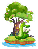 A crocodile in an island reading Stock Image
