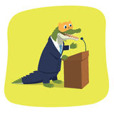 Crocodile in a kitten mask. Vector illustration of a crocodile pretending to be a cute kitten while giving a speech at a tribune. Political caricature. The mask Royalty Free Stock Image