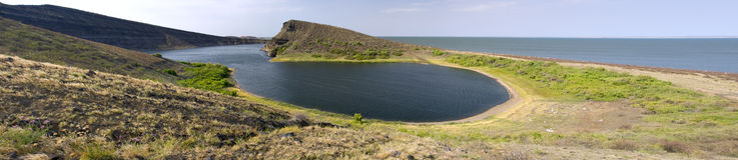 Crocodile Lake. Composed panorama of Crocodile lake on Central island on Lake Turkana,northern Kenya Royalty Free Stock Photo