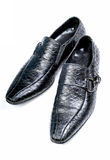 Crocodile leather black formal shoes Stock Photo
