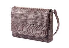 Crocodile leather handbag. Crocodile gray leather handbag isolated on a white background Stock Images