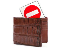 Crocodile leather wallet and stop sign Stock Photos