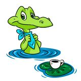 Crocodile Lunch Coffee cartoon illustration Stock Photo