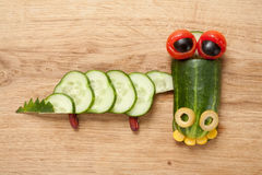 Crocodile made of vegetables Stock Photo
