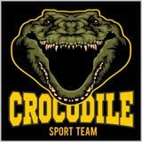 Crocodile mascot for a sport team. Vector illustration. Crocodile mascot for a sport team on dark background. Vector illustration stock illustration