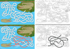 Crocodile maze. For kids with a solution in color and in black and white stock illustration