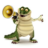 Crocodile with megaphone. 3d render cartoon of croc collection Stock Images