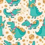 Crocodile money seamless pattern Stock Image