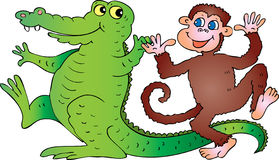 Crocodile and monkey. A cartoon illustration of a dancing smiling green crocodile with a long tail and a cheeky brown monkey waving his hands Royalty Free Stock Photos