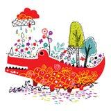 Crocodile nature illustration Royalty Free Stock Photo