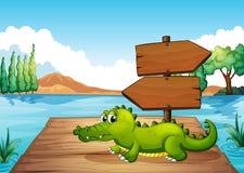 A crocodile near the pond Royalty Free Stock Photo
