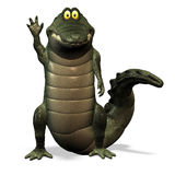 Crocodile No. 1. A funny one cartoon crocodile, who waves at the observer Royalty Free Stock Photo