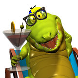 Crocodile No. 11. Profile reception of a gay cartoon of crocodile, that holds which one glass in the hand Stock Images