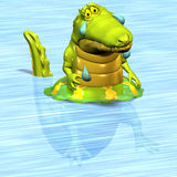 Crocodile No. 12. A funny one cartoon crocodile, that cries crocodile tears and swims in a swimming tire Stock Photography