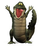 Crocodile No. 2. A funny one cartoon crocodile, who is pleased about something Stock Image