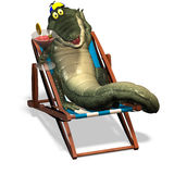 Crocodile No. 3. A funny one cartoon crocodile, that lies in a beach chair and holds a cocktail glass in the hand Royalty Free Stock Photography