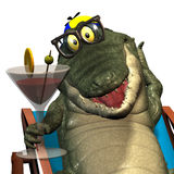 Crocodile No. 4. Profile reception of a gay cartoon of crocodile, that holds which one glass in the hand Royalty Free Stock Photo