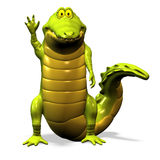 Crocodile No. 7. A funny one cartoon crocodile, who waves at the observer Royalty Free Stock Photography