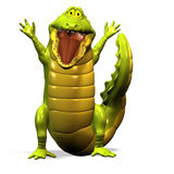 Crocodile No. 8. A funny one cartoon crocodile, who is pleased about something Royalty Free Stock Photos