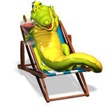 Crocodile No. 9. A funny one cartoon crocodile, that lies in a beach chair and holds a cocktail glass in the hand Stock Image