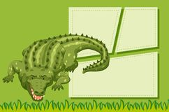 A crocodile on note template. Illustration royalty free illustration