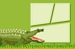 A crocodile on note template. Illustration vector illustration