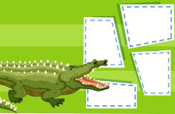 A crocodile on note template. Illustration stock illustration