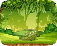 Crocodile on note template. Illustration royalty free illustration