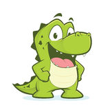 Crocodile ou alligator avec des mains sur des hanches