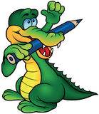 Crocodile Painter. With Hand Up - Colored Cartoon Illustration, Vector stock illustration