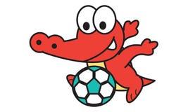 Crocodile Playing Football Stock Image