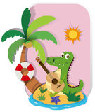 Crocodile playing guitar on island Royalty Free Stock Photo