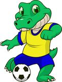 The crocodile plays football. Royalty Free Illustration