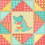 Crocodile quilt pattern. Crocodile. Vintage patchwork seamless pattern. Background vector illustration