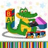 Crocodile railroad. Vector  illustration, eps Royalty Free Stock Images