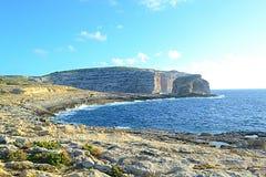 Crocodile Rock in Gozo Island, Malta. A View of the Crocodile Rock located near the Azur Window in Gozo Island, Malta Stock Photo